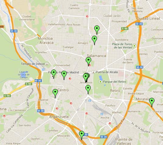 Posicionamiento vehículos sobre mapa